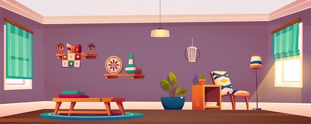 방 인테리어, 안락 의자가있는 빈 아파트, 플로어 램프와 화분이있는 커피 테이블에 수건 무료 벡터