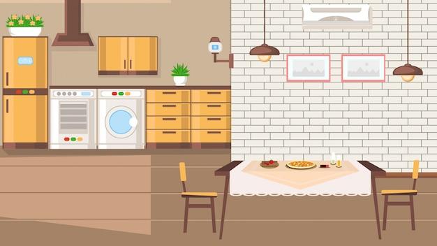 Room interior flat design vector illustration. Premium Vector