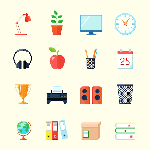 Room interior flat icons set Free Vector