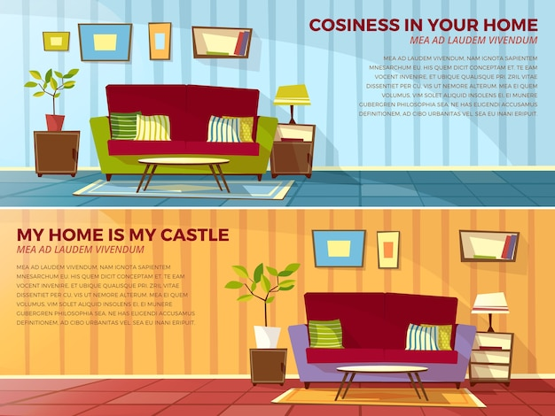 Room interior illustration of old or modern apartments living room with furniture. Free Vector