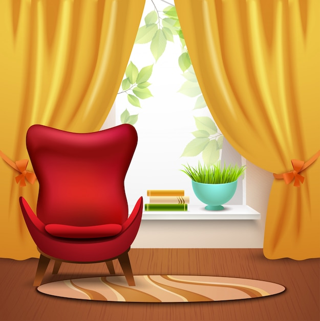 Room interior illustration Free Vector