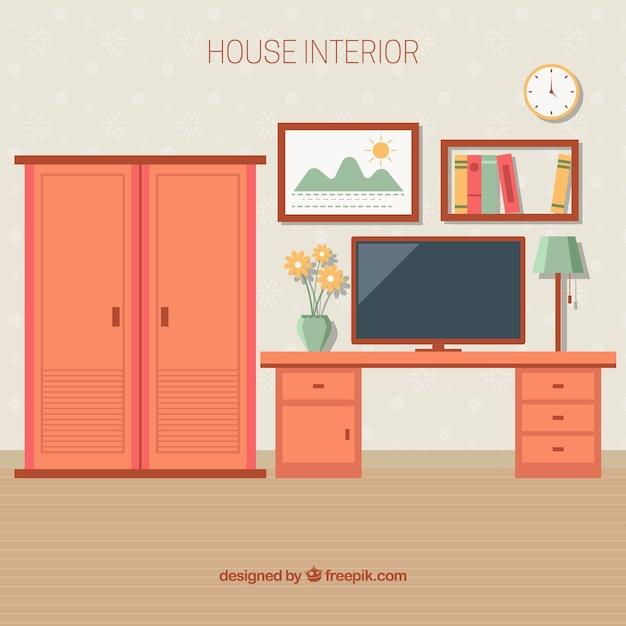 Интерьер комнаты со шкафом и столом Premium векторы
