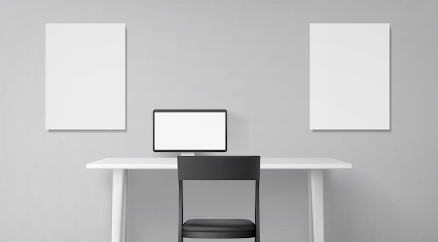 책상, 좌석 및 테이블에 컴퓨터가있는 객실 내부 무료 벡터
