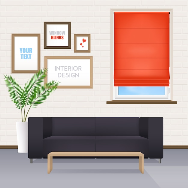 Room interior with furniture and window blinds Free Vector