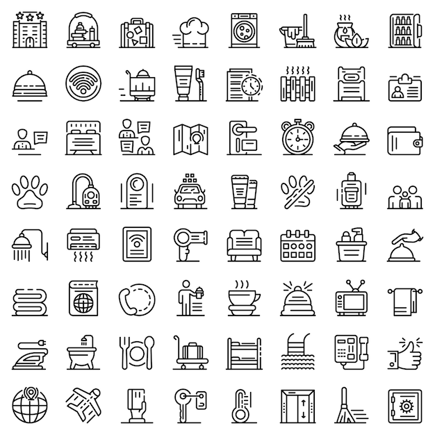 Room service icons set, outline style Premium Vector