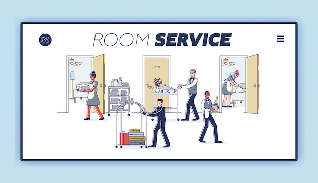 制服を着て訪問者にサービスを提供する漫画のホテルスタッフがいるルームサービスのランディングページ。 Premiumベクター