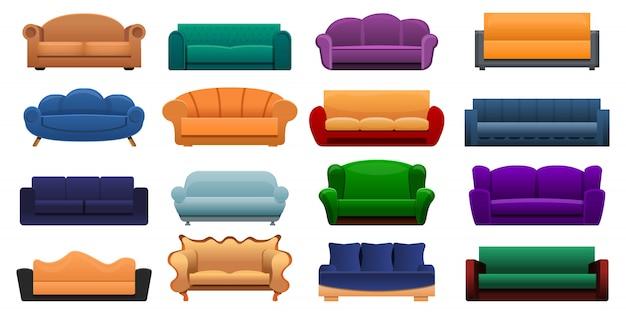 Room sofa icon set, cartoon style Premium Vector