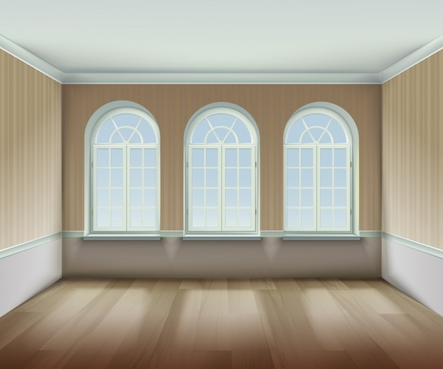 Room with arched windows background Free Vector