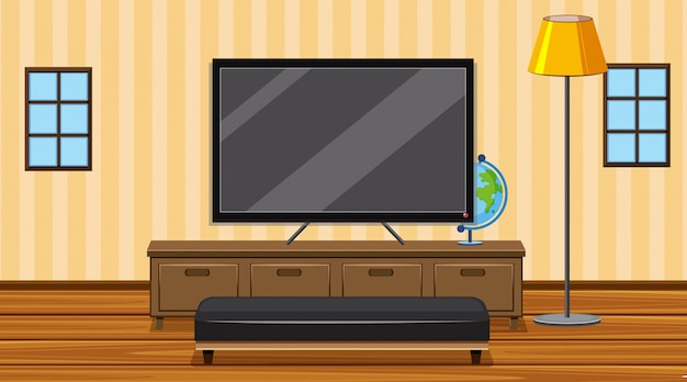 Room with big screen tv in the room Premium Vector