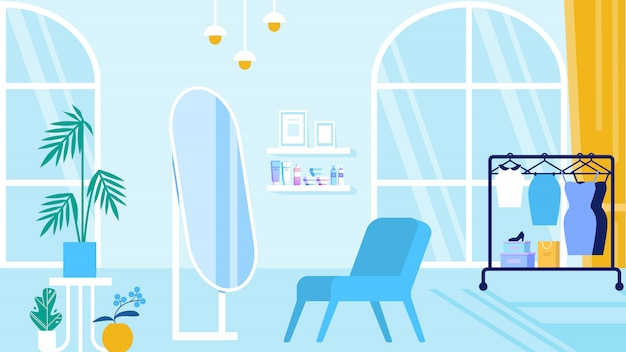 Room with blue interior beauty salon and showroom Premium Vector