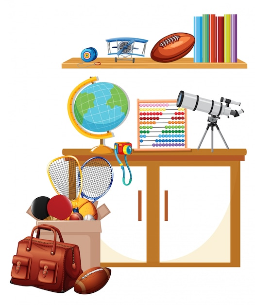 Room with box of sport equipments and books on the shelf Free Vector