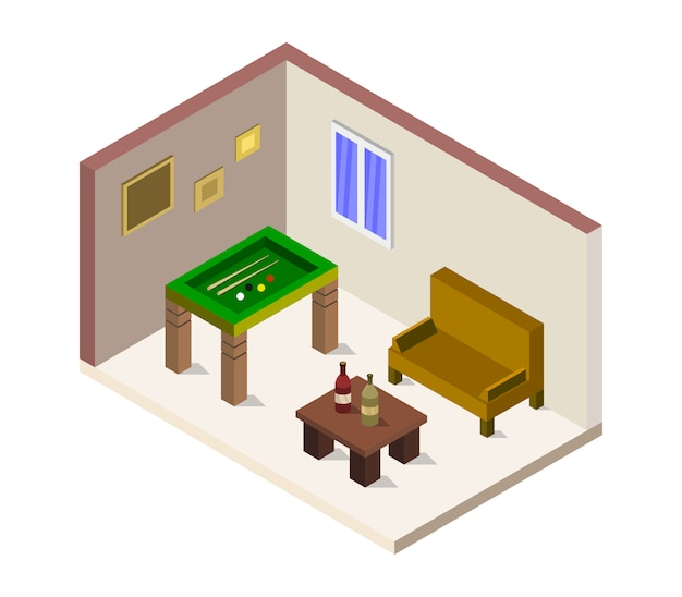 Room with isometric pool table Premium Vector