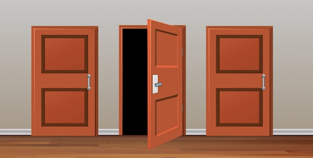 Room with three doors Free Vector