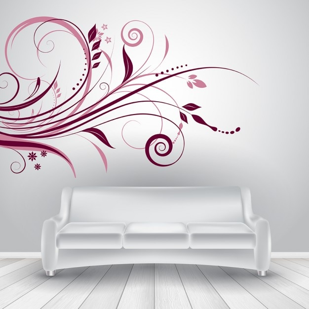 Room with a white sofa Free Vector