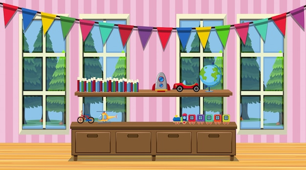 Room with wooden cabinet and many toys Premium Vector