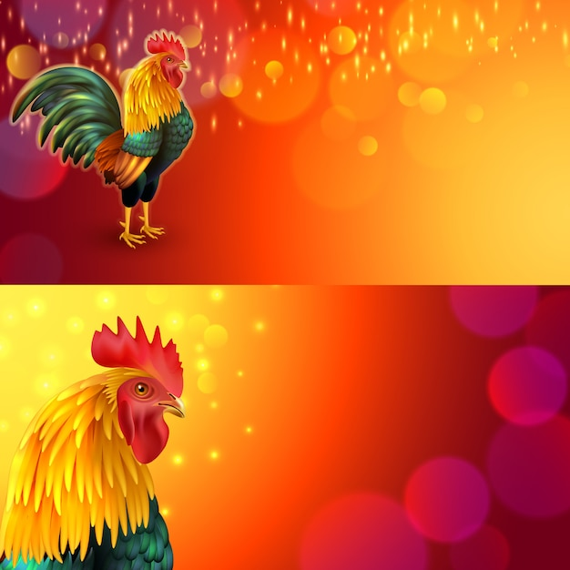 Rooster banner set Free Vector