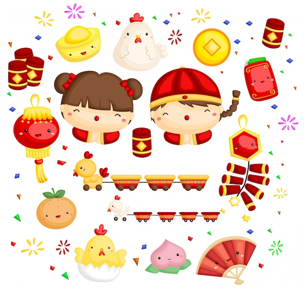Rooster chinese new year Premium Vector