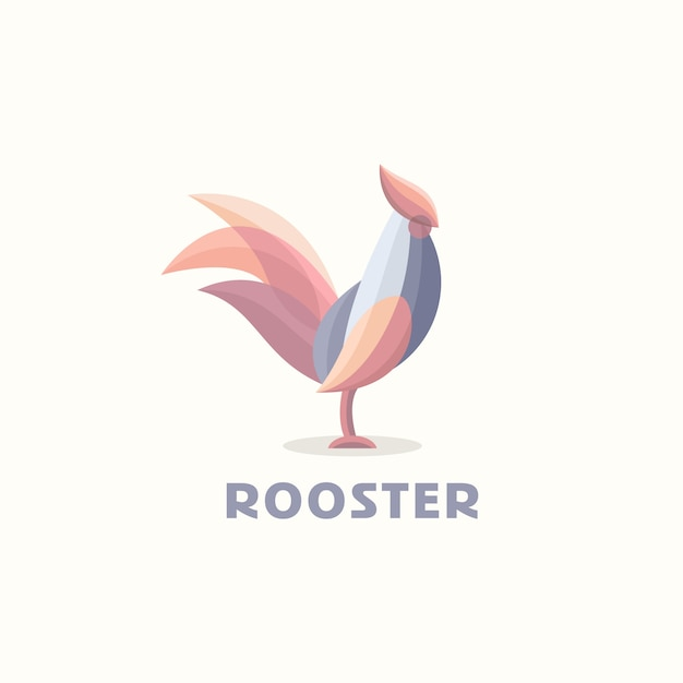 Rooster color logo template vector Premium Vector
