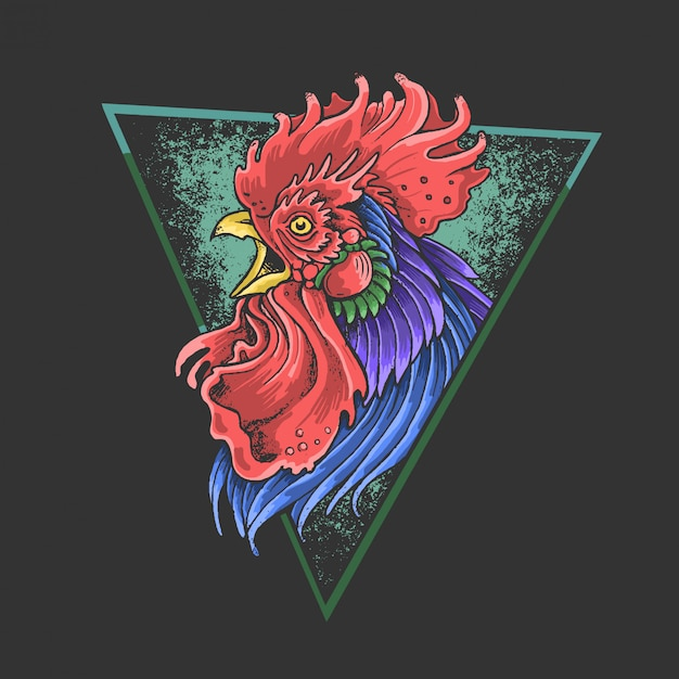 Rooster colorful Premium Vector