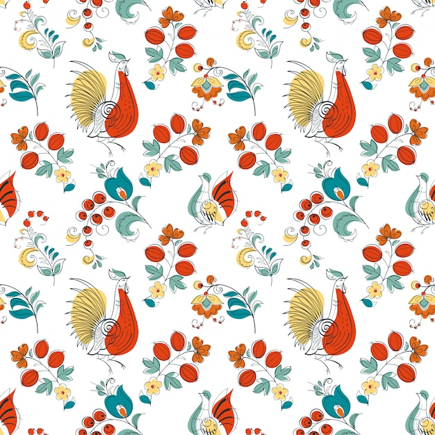 Rooster and flowers in russian style Premium Vector