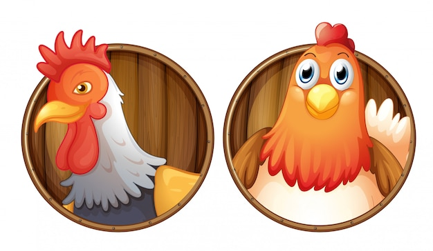 Rooster and hen on wooden badge Free Vector