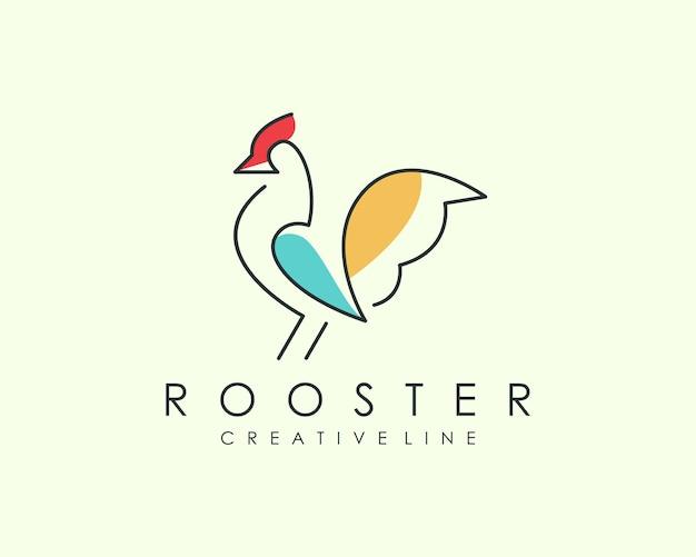 Rooster line art logo Premium векторы