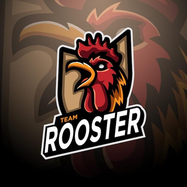 Rooster logo gaming esport template Premium Vector