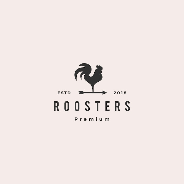 Rooster logo vector arrow icon illustration Premium Vector