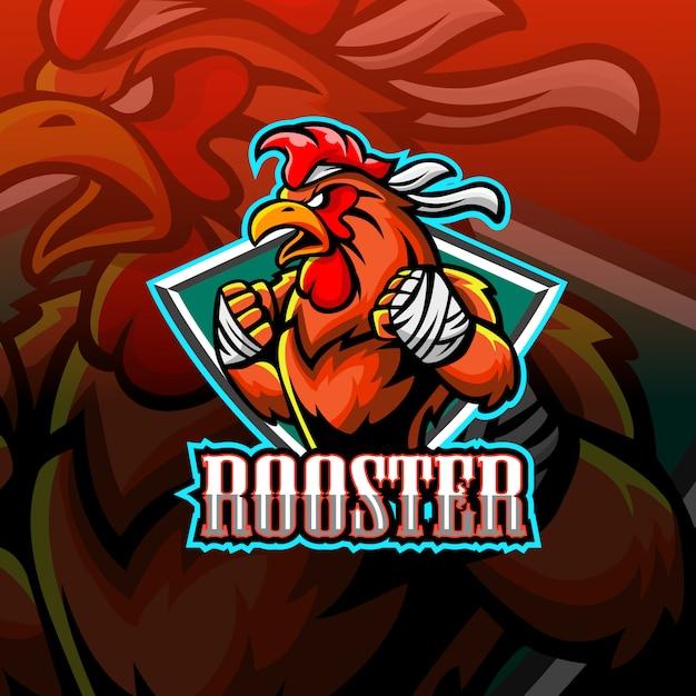 Rooster mascot esport logo Premium Vector