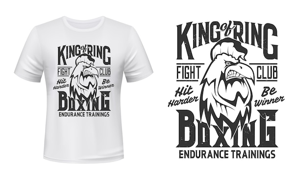 Rooster print t-shirt , boxing fight club  emblem. angry rooster cock mascot box or kickboxing fighting club with hit harder and be winner slogan for t shirt print Premium Vector
