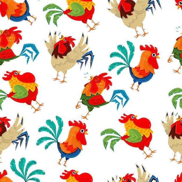 Rooster seamless pattern. vector wallpaper Premium Vector