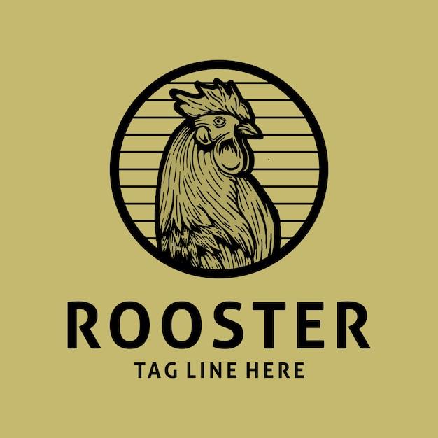 Rooster vintage logo design Premium Vector