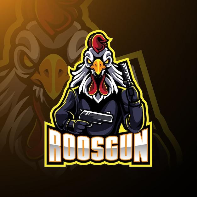 Rooster with gun mascot logo Premium Vector