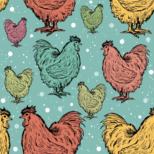 Roosters seamless pattern Premium Vector