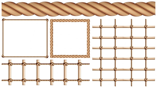 Веревка и многие виды использования веревки Бесплатные векторы
