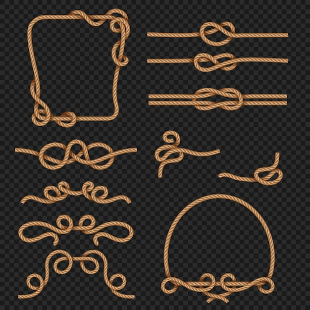 Rope border and frames with knots marine design elements. rope and cord strong Premium Vector