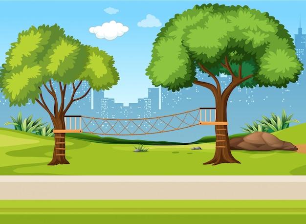 A rope bridge playground Premium Vector