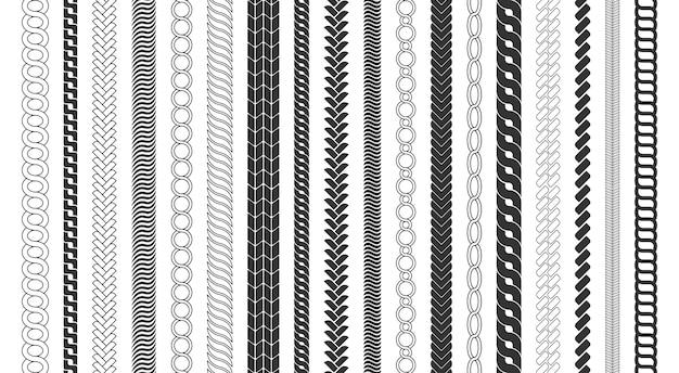 ロープブラシフレーム、装飾的な黒い線のセット。チェーンパターンブラシは、白い背景で隔離の編みこみのロープを設定します。太いコードまたはワイヤー要素。 Premiumベクター