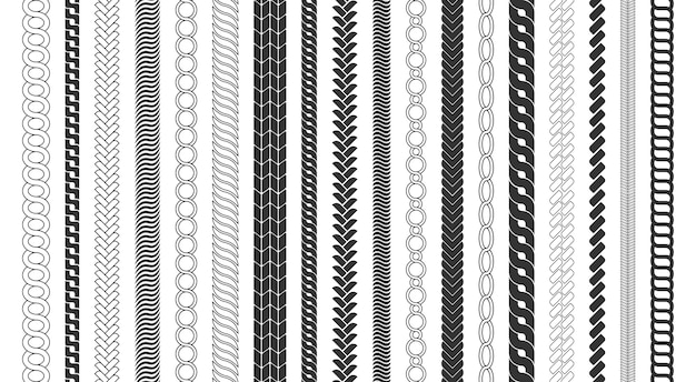 Rope brushes frame, decorative black line set. chain pattern brushes set braided rope isolated on white background. thick cord or wire elements. Premium Vector