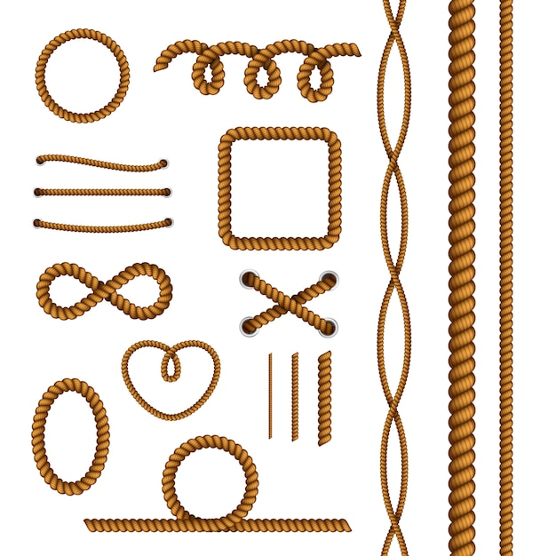 Rope decorative elements collection Free Vector