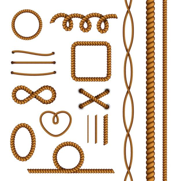 Веревочная коллекция декоративных элементов Бесплатные векторы
