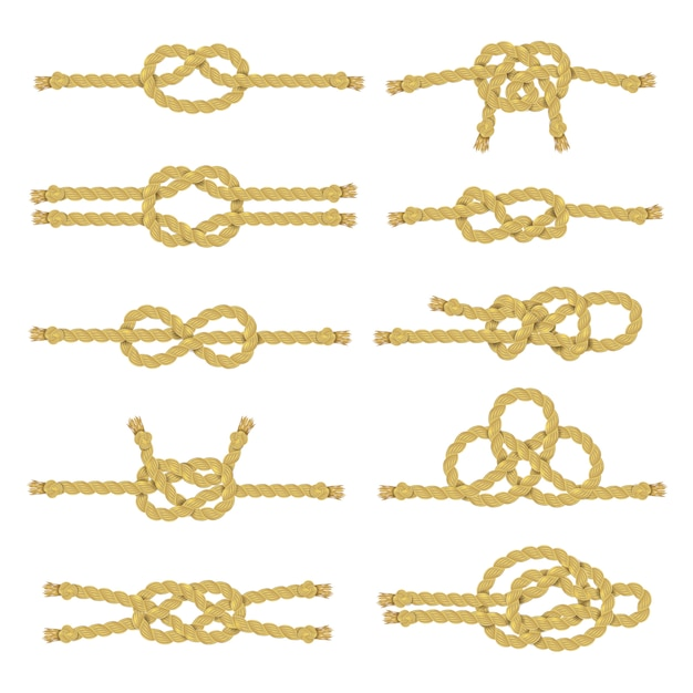 Rope knot decorative icon set Free Vector