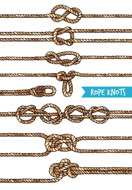 Rope knots set Free Vector