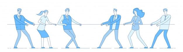 Веревка тянет. командный бизнес соревнования, люди соперника тянут веревку. конкуренция, конфликтное соперничество в офисе. концепция перетягивания каната Premium векторы
