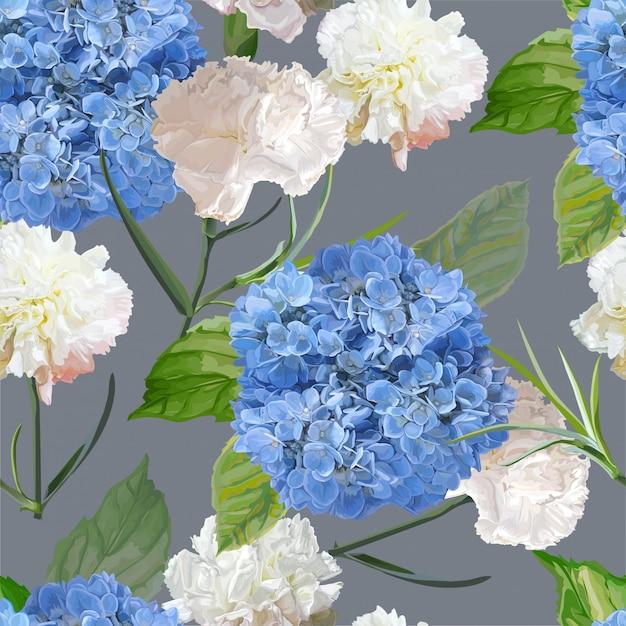 バラとカーネーションの花のシームレスパターン Premiumベクター