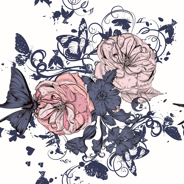 Rose background and illustrated leaves Premium Vector