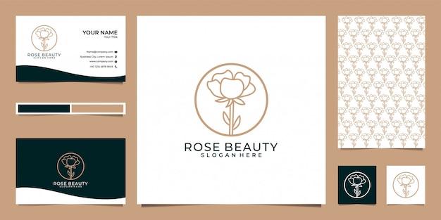 バラの美しさのロゴのデザイン、パターン、名刺 Premiumベクター