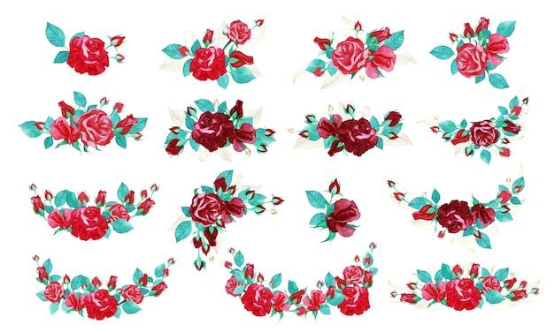 청첩장 또는 인사말 카드에 대 한 수채화 스타일에서 장미 꽃다발 번들. 무료 벡터