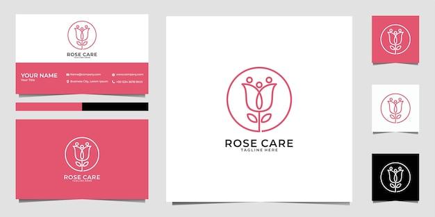 ローズケアフェミニンなロゴデザインと名刺 Premiumベクター