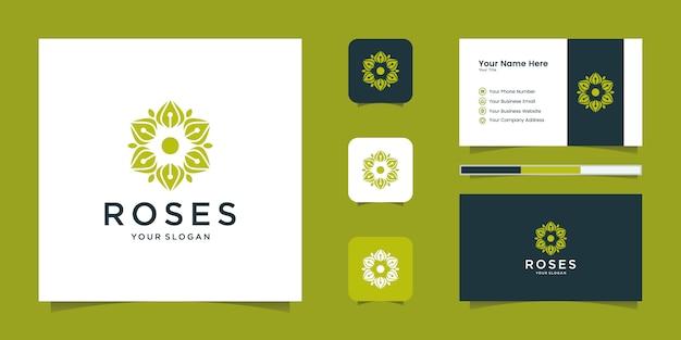 美容、化粧品、ヨガ、スパのためのバラのエレガントな花のロゴ。ロゴデザインと名刺 Premiumベクター